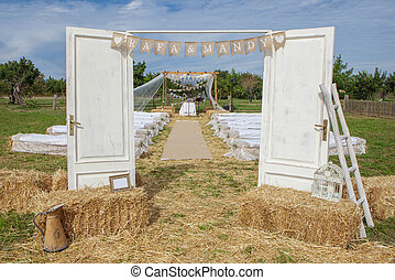 outdoor rural wedding venue setting - outdoor rural country...