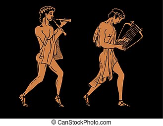 ancient Greek musicians - Vector color illustration of Greek...