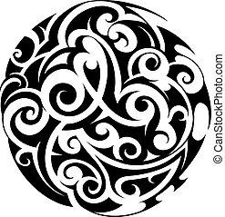 Maori style tattoo - Maori ethnic circle tattoo shape on...
