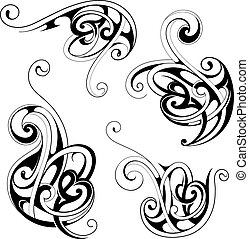 Floral tattoo shapes - Set of floral shape designs with...