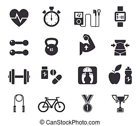 Fitness and diet icon set in black.