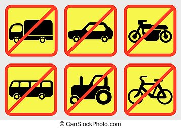 Vehicle Prohibition Icons Vector EPS 10