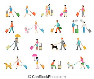 Travelers with suitcases on white background. People with...