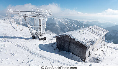 Old snowy ropeway in resort Jasna, Slovakia