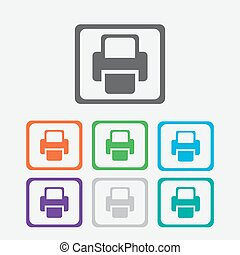 Printer Vector icon color icon with frame
