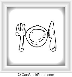 Simple doodle of a place setting