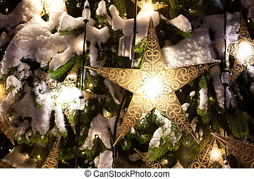 Beautiful Christmas decorations on Christmas trees with...