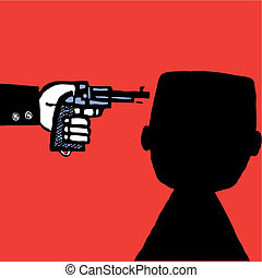 man with pistol - Suicide man with pistol vector...