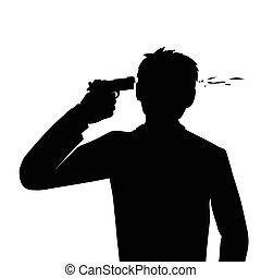 自殺, headshot,