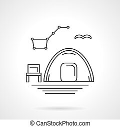 Camping at night flat line vector icon - Hiking tent and...