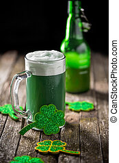 St Patricks Day - Green beer in a mug for St Patricks Day...