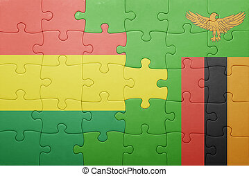 puzzle with the national flag of zambia and bolivia