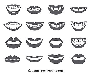 Lips icon Set of silhouettes lips-vector - Lips with a smile...