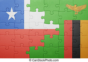 puzzle with the national flag of zambia and chile