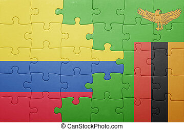puzzle with the national flag of zambia and colombia