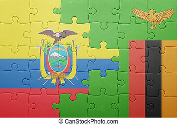 puzzle with the national flag of zambia and ecuador