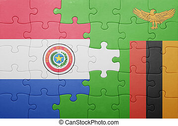 puzzle with the national flag of zambia and paraguay