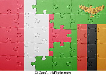 puzzle with the national flag of zambia and peru