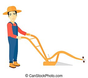 Farmer with plough - An asian farmer using a plough vector...