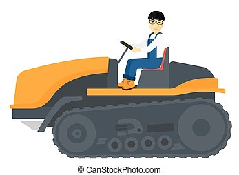 Farmer driving catepillar tractor. - An asian farmer driving...