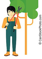 Farmer with pruner - An asian farmer holding a pruner vector...