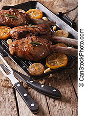 Beef steak with grilled vegetables on pan close-up Vertical...