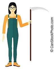 Farmer with scythe - An asian farmer holding a scythe vector...