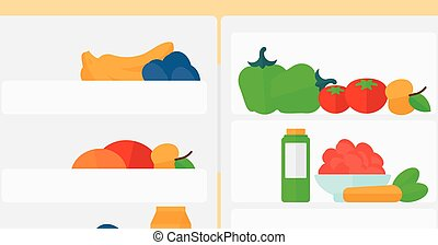 Background of refrigerator full of fruits and vegetables -...