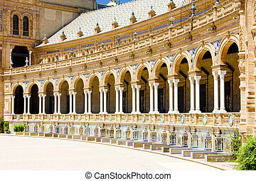 Spanish Square Plaza de Espana, Seville, Andalusia, Spain