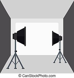 Background of empty photo studio with lighting equipment -...