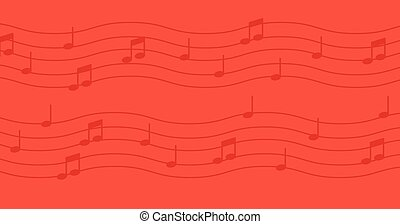 Music notes on red background - Music notes isolated on red...