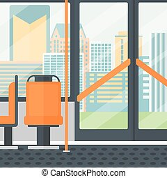Background of modern empty city bus - Background of modern...