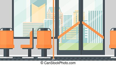 Background of modern empty city bus. - Background of modern...