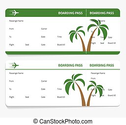 tickets leaves boarding pass isolated on white background...