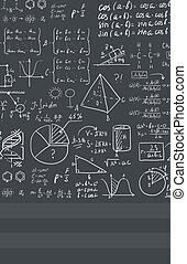 Background of white blackboard with mathematical equations -...