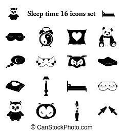 Sleep time 16 simple icons set - Sleep time and comfort...