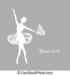 Silhouette of dancing girl with butterfliy.