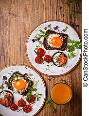 Fried eggs, salmon canape and tomatoes - Fried eggs on...