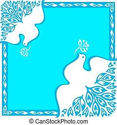 Peace bird square ornament