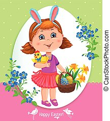 Easter card with girl