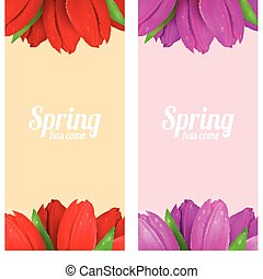 Tulip flowers frame composition - Bright spring banners...