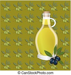 Olive green seamless pattern - Olive branches, berry and oil...
