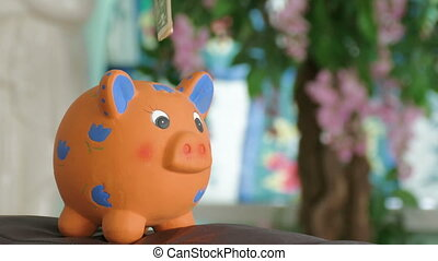 piggy bank collects money - young man putting money in piggy...