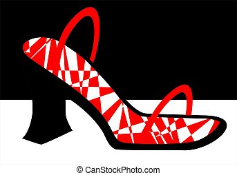 Foot wear - Illustration of ladies foot wear in with red...