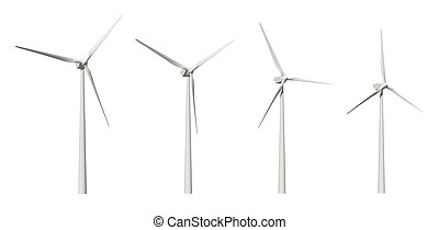 Wind Turbine cutout - Wind-mill isolated on white background