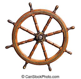 viejo, barco, entrepuente, rueda, recorte,