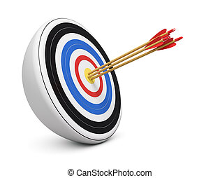 Triple Bulls-Eye - Bulls-Eye three archery arrows hit right...