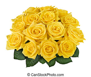 Yellow rose bouquet cutout - Yellow rose bouquet isolated on...