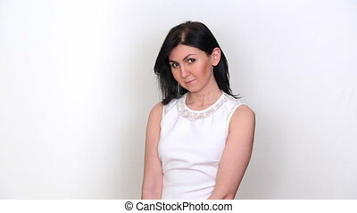 girl girl with dark hair on a white background - girl with...