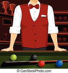 man leaning on a pool table with cue stick and colorful...